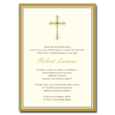 Gold Filigree Jewel Cross First Communion Invitation