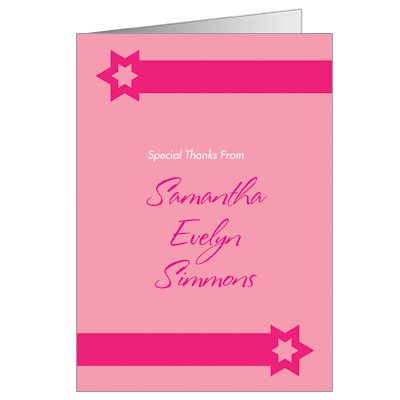 Hot Pink Bat Mitzvah Thank You Card