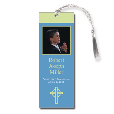 Kiwi Cross Blue First Communion Bookmark