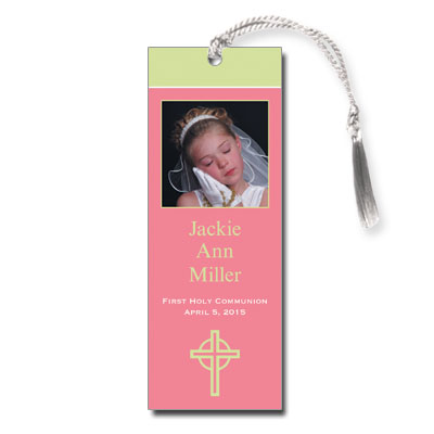 Kiwi Cross Pink First Communion Bookmark