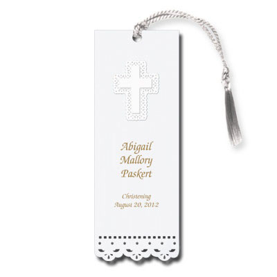 Lace Cut Cross First Communion Bookmark