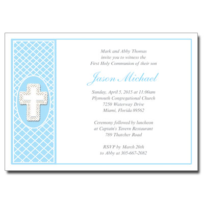 Lace Cross Blue First Communion Invitation