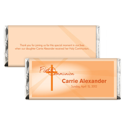 Lightbeams Orange First Communion Candy Wrapper