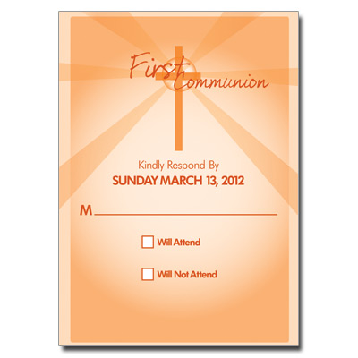 Lightbeams Orange First Communion Response Card