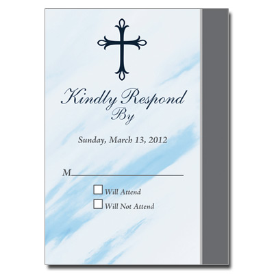 Marbled Blue First Communion Response Card