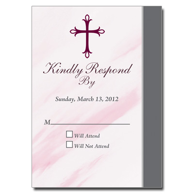 Marbled Pink First Communion Response Card