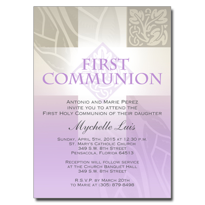 Pastel Girl Cross First Communion Invitation