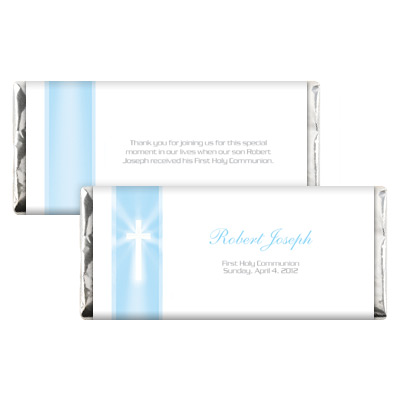 Blue Rays Jeweled First Communion Candy Wrapper