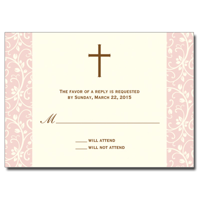 Pink Vines First Communion Response Card
