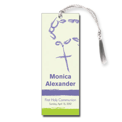Rosary Beads Lavender First Communion Bookmark