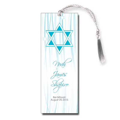Elegant Blue Script Bar Mitzvah Bookmark