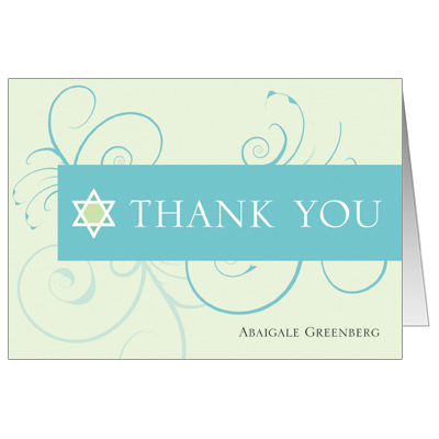 Teal Floral Bat Mitzvah Thank You Card