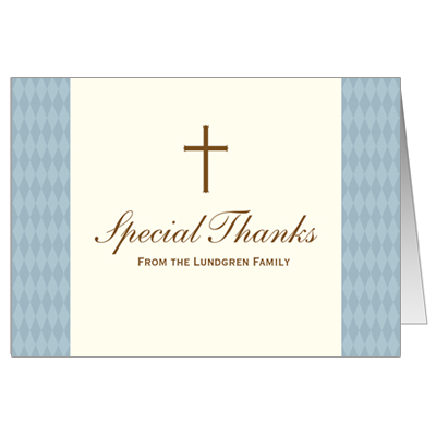 Diamond Blue First Communion Thank You Card