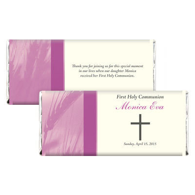 Traditional Wheat Purple First Communion Candy Wrapper