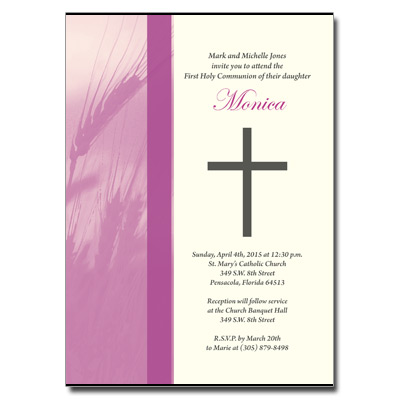 Traditional Wheat First Communion Invitation - Purple