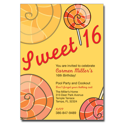 Sweet 16 Candy Invitation Pricing Options