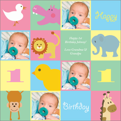 Animal Balloons Girl Personalized Wrapping Paper Baby