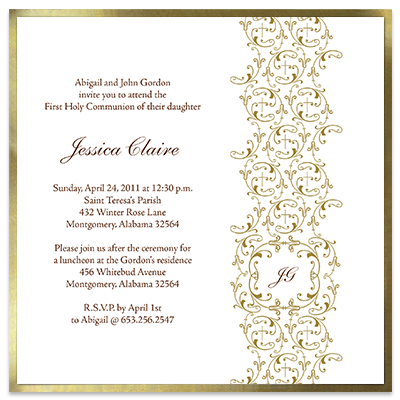 Golden Vines First Communion Invitation