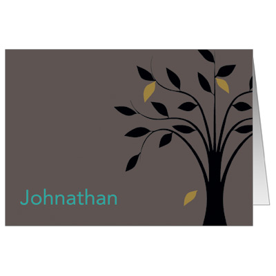 Living Tree Boy Bar Mitzvah Thank You Card