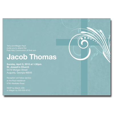Modern Teal Swirl First Communion Invitation