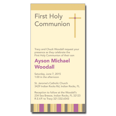 Sunrise Stripes First Communion Invitation