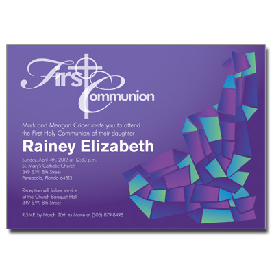 Abstract Glass Purple First Communion Invitation