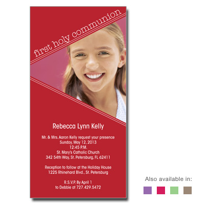 Angled Colors First Communion Invitation