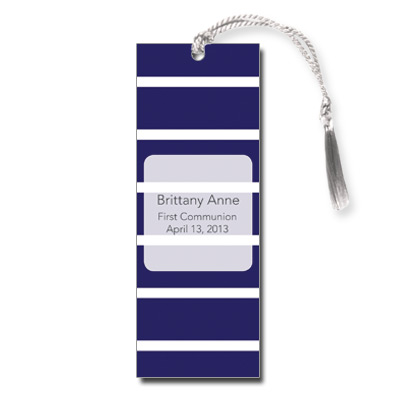Bold Stripes Blue First Communion Bookmark