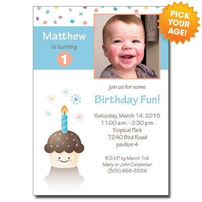 Happy Cupcake Blue Invitation