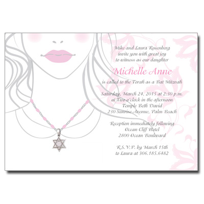 Jeweled Star Necklace Bat Mitzvah Invitation
