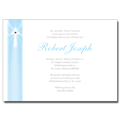 Blue Rays Jeweled First Communion Invitation
