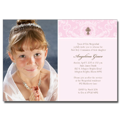 Pink Toile Photo First Communion Invitation